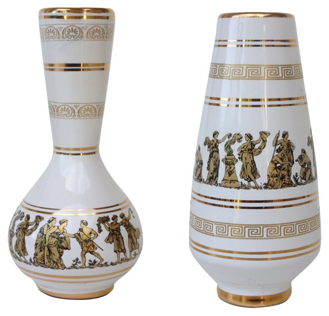 Greek Gods Porcelain Vases, Pair