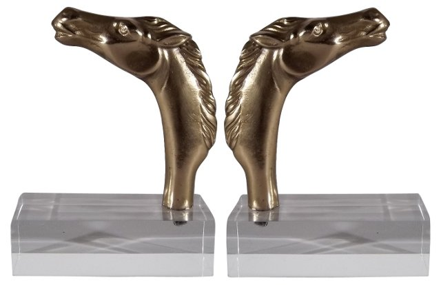 Brass Horse Bookends
