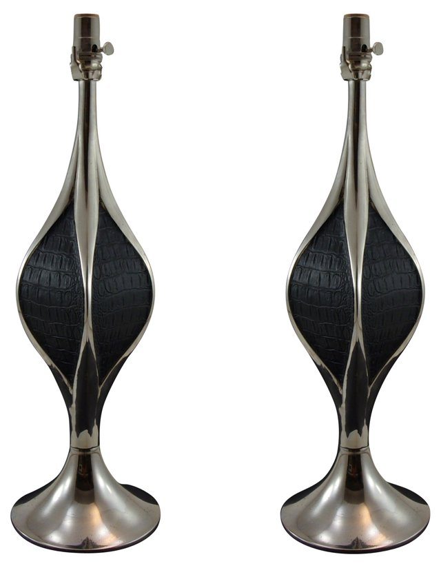 Sculptural Laurel Lamps, Pair