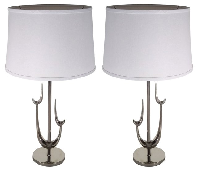 Chrome Sculptural Lamps, Pair