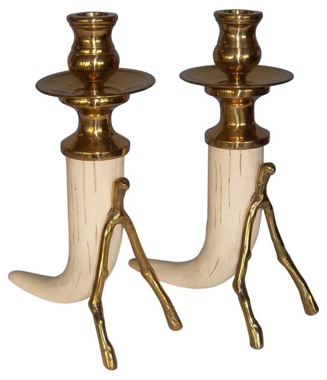 Faux-Tusk Candleholders, Pair