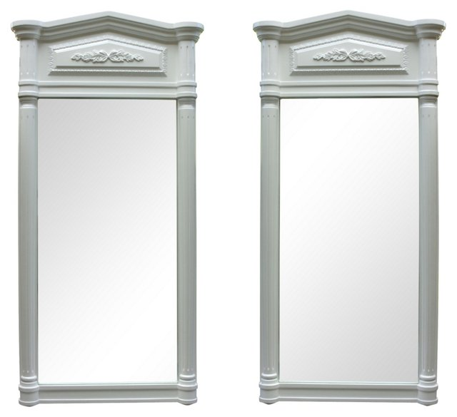 White Neoclassical-Style Mirrors, Pair