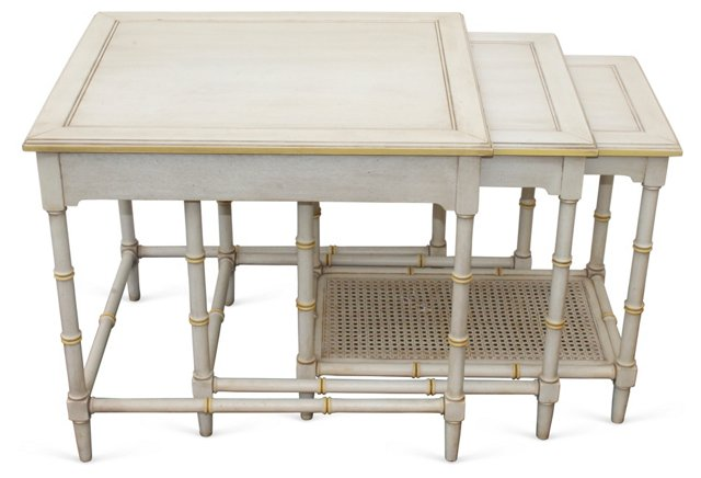 Faux-Bamboo   Nesting Tables, S/3