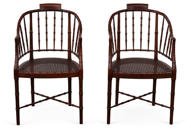 Baker Faux-Bamboo  Armchairs, Pair