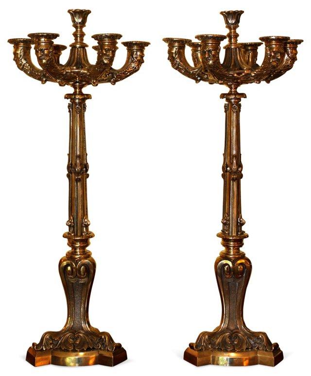 Bronze French Empire Candelabra, Pair