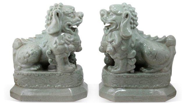 Celadon Foo Dogs, Pair