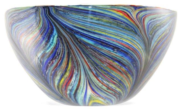 Handblown Multicolor Centerpiece Bowl
