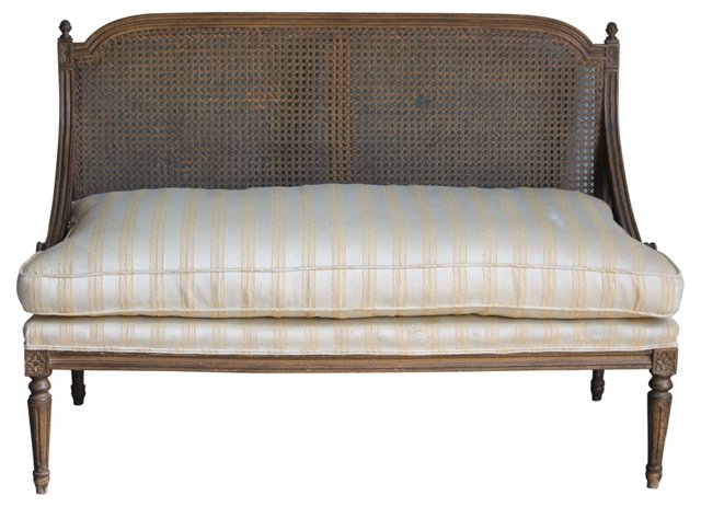 Neoclassical-Style  Caned-Back Settee