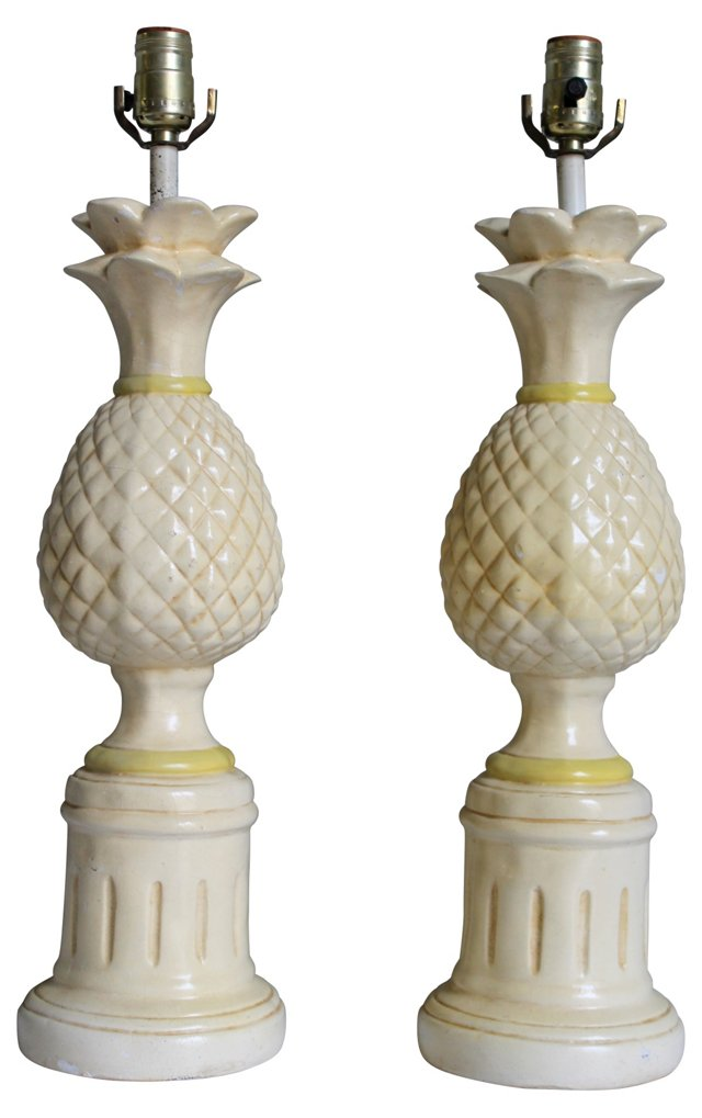 1960s Plaster Pineapple Lamps, Pair