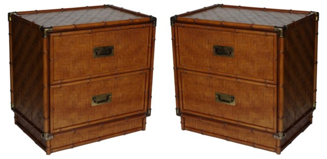 Campaign-Style Night Stands,  Pair