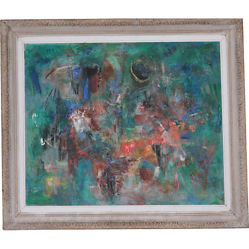1940s Large Colorful Abstract Painting