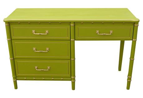 Midcentury 4-Drawer Bamboo-Style Desk