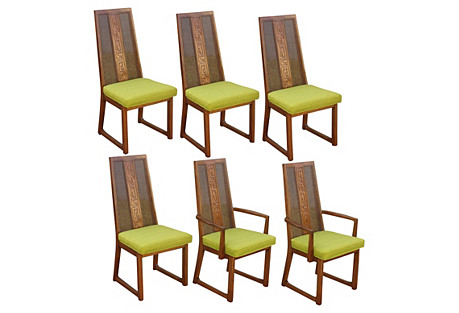 Midcentury Cane-Back Dining Chairs, S/6