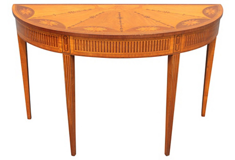 50s Exotic Inlaid Wood Demilune Console