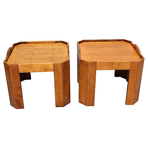 Midcentury Serving Tables, Pair