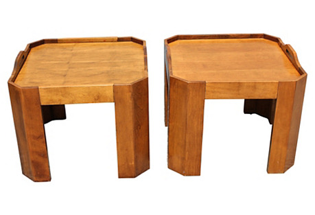 Midcentury Serving Tables, Pair