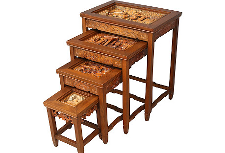 Carved Asian Nesting Tables, S/4