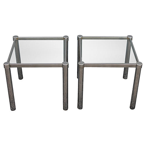 Modern Chrome & Glass Accent Tables, S/2