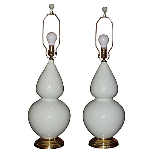 Mid Century Pair of Light Celadon Lamps