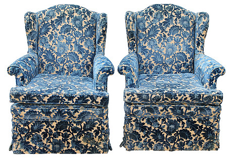 Crushed Velvet Wingback Chairs, Pair