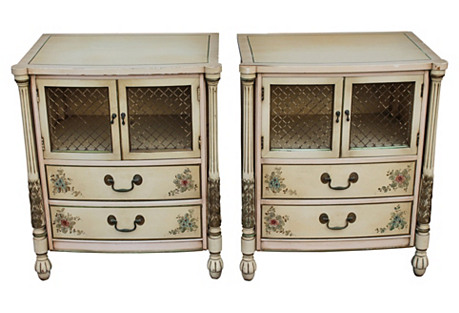 Carved & Painted Nightstands, S/2