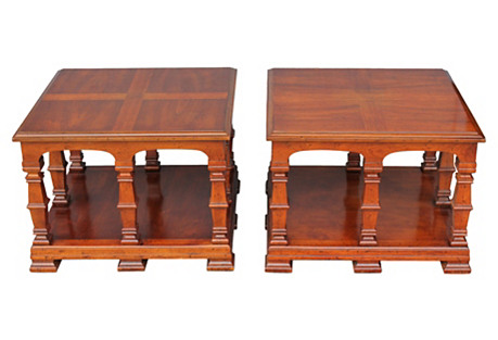 1970s Carved Wood End Tables, Pair