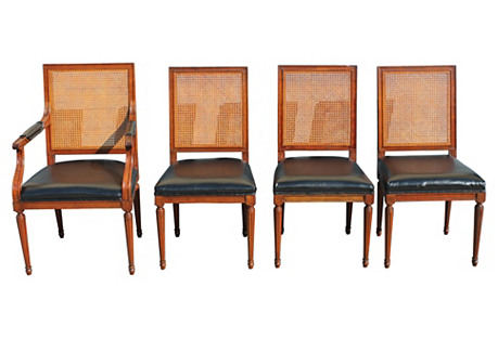 Baker Caned Dining Chairs, S/4