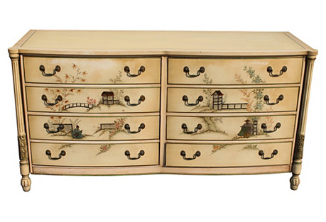 Midcentury Chinoiserie Painted Dresser