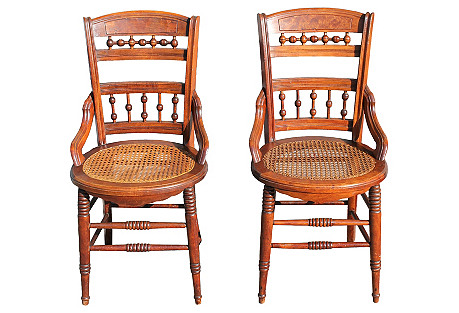 Caned Carved Wood Side Chairs, S/2