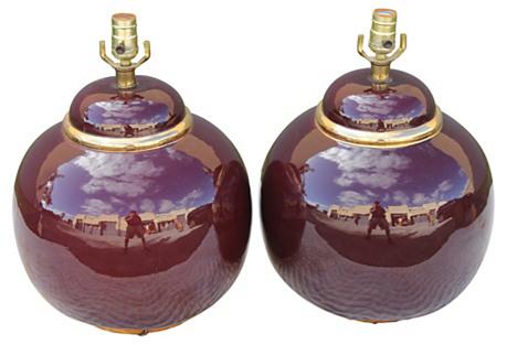 Midcentury Plum Balloon Lamps, S/2