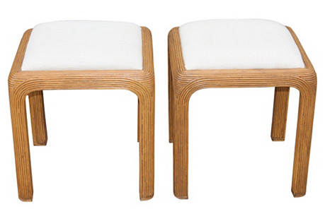 1950s Detailed Stools, Pair