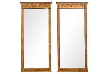 Midcentury Giltwood Mirrors, S/2