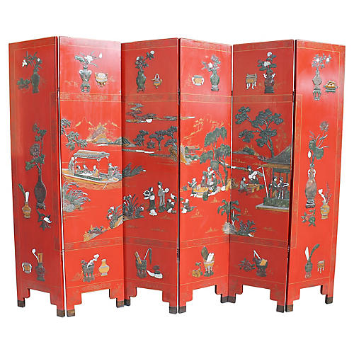 Asian Red Lacquered Six-Panel Screen