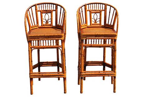 Midcentury Bamboo Barstools, Pair