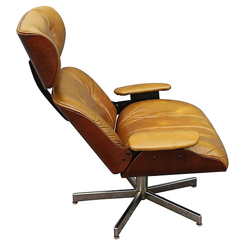 1960s Leather Swivel Chair