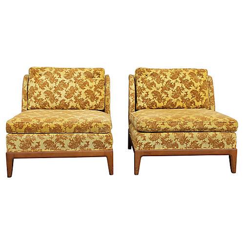 1950s Velvet Lounge Chairs, S/2