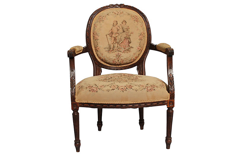 19th-C. French Louis XVI-Style Armchair