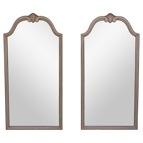 1960s Ivory Wall Mirrors, S/2