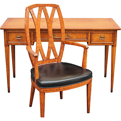 Midcentury Henredon Burl-Wood Desk Set