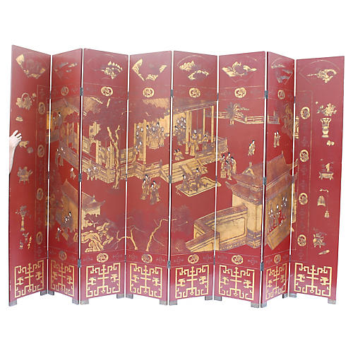 Antique Asian 8 Panel 24k Gilt Screen