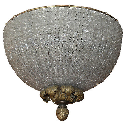 French Beaded Dome Fixture, C. 1890