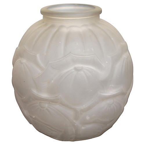French Art Deco Frosted Glass Vase, 1920