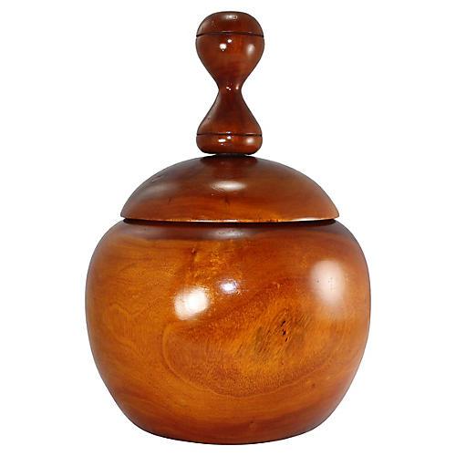 Midcentury Carved Wood Jar