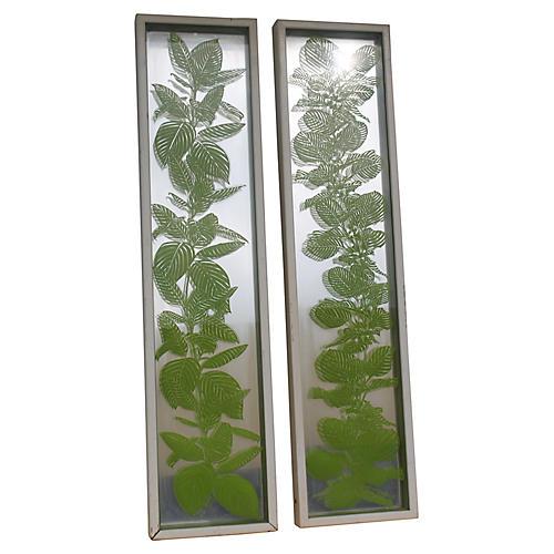 Midcentury Painted Glass Panels, Pair