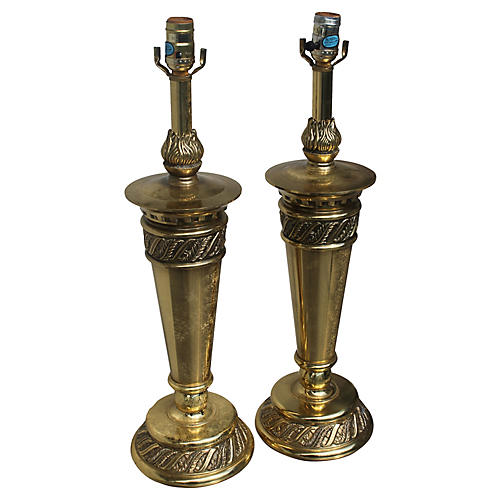 Mid Century Stiffel Heavy Lamps, Pair