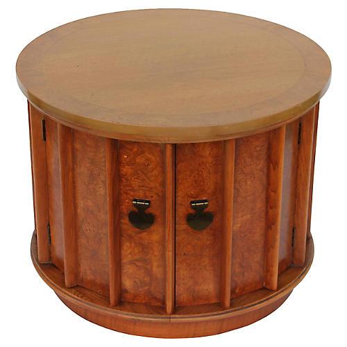 1960s Round Burl Amboyna Side Table