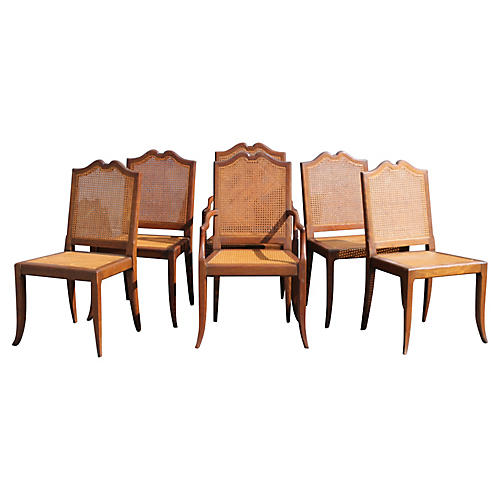 Midcentury Carved Dining Chairs, S/6