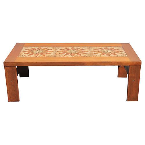 Midcentury Walnut Tile-Top Coffee Table