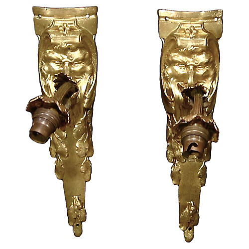 19th C. Neoclassical Mask Sconces, S/2