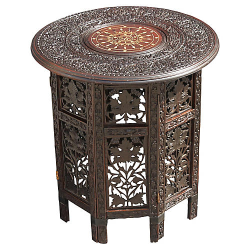 Midcentury Inlaid & Carved Side Table